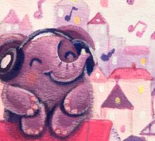 Music Lover - Rondy the Elephant listening to music on the roof Sticker
