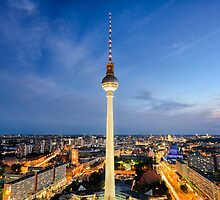 The skyline of Berlin, Germany at night by Michael Abid
