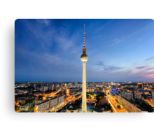 The skyline of Berlin, Germany at night Canvas Print
