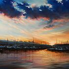 sunset in the harbor by Roman Burgan