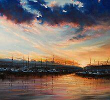 sunset in the harbor by Roman Burgan