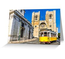 Historic yellow tram of Lisbon, Portugal Greeting Card