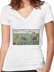 Early 20th Century images of France in 2000 - Seagull Fishing Women's Fitted V-Neck T-Shirt