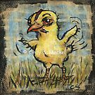 Chick; (mixed media) baby chicken on papyrus by Cindy Schnackel