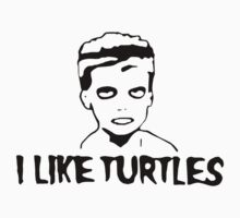 I LIKE TURTLES funny zombie kid humor geeky nerdy by jekonu