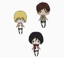 Eren, Mikasa, Armin - Stickers by tobiejade