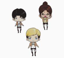 Levi, Erwin, Hanji - Stickers by tobiejade