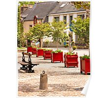 Little Red Planters All in a Row  - Rochefort en Terre, Brittany, France Poster