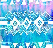Blue and Pink Aztec Tie Die Pattern iPhone Case by sadeelishad