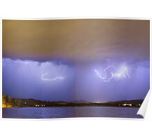 Lightning And Rain Over Rocky Mountain Foothills Poster