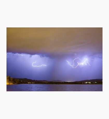 Lightning And Rain Over Rocky Mountain Foothills Photographic Print