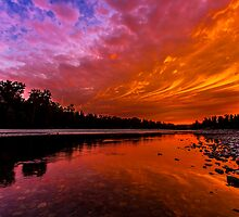 Sunset over the Confluence of the Wallace and Skykomish Rivers by Jim Stiles