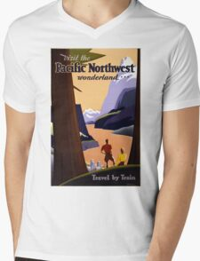 Vintage Pacific Northwest Wonderland Travel Mens V-Neck T-Shirt
