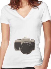 35mm vintage camera Women's Fitted V-Neck T-Shirt
