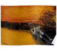 golden sky and freeway Poster