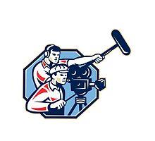 Cameraman Vintage Camera Soundman Boom Retro by patrimonio