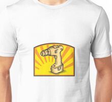 Cordless Drill Power Tool Woodcut Retro Unisex T-Shirt