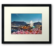 """HDR of the Victoria and Albert Waterfront, Cape Town with a rare sighting of Table Mountain without it's """"tablecloth"""" Framed Print"""