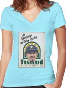 As Tasmanian as Ricky Ponting Women's Fitted V-Neck T-Shirt