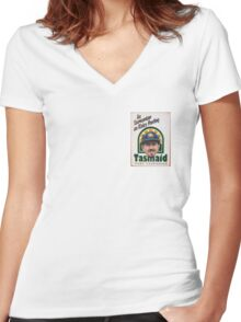 As Tasmanian as Ricky Ponting (breast pocket) Women's Fitted V-Neck T-Shirt