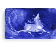 Christmas background with runing reindeer Canvas Print