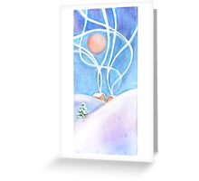 Winter landscape with village on mountain. Daytime, smoke from the chimneys Greeting Card