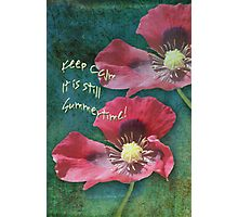 Poppies on a Grunge Retro background with Text Photographic Print