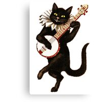 Funny Vintage Cat Dancing and Playing Banjo Canvas Print