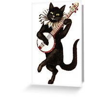 Funny Vintage Cat Dancing and Playing Banjo Greeting Card