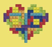 Tetris Block Heart One Piece - Short Sleeve