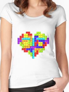 Tetris Block Heart Women's Fitted Scoop T-Shirt
