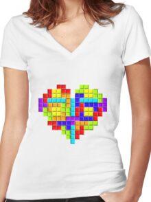 Tetris Block Heart Women's Fitted V-Neck T-Shirt