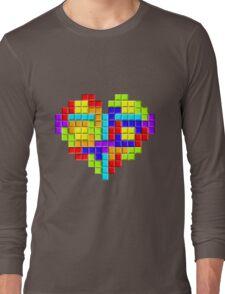 Tetris Block Heart Long Sleeve T-Shirt