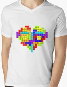 Tetris Block Heart Mens V-Neck T-Shirt