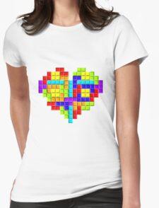 Tetris Block Heart Womens Fitted T-Shirt
