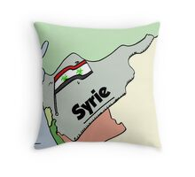 Drapeau syrien Biohazard caricature Throw Pillow