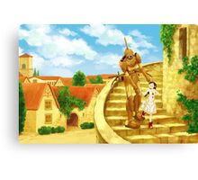 The Girl and the Robot - Friends in the Castle Town Canvas Print