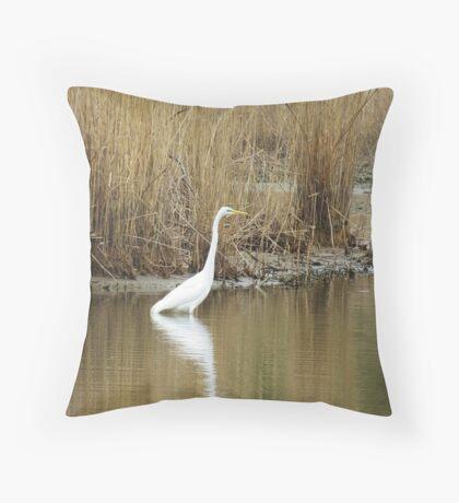 White Heron on The Hunt Throw Pillow