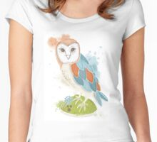 Owl Statue Women's Fitted Scoop T-Shirt