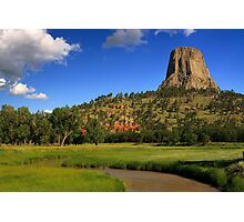 Devils Tower over the Belle Fourche River Photographic Print