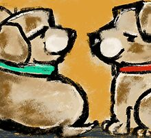 Two cheeky puppies - by Beatrice Ajayi by Beatrice  Ajayi