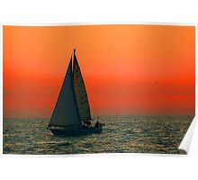Lake Michigan Sunset - Boat Poster
