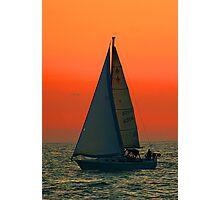 Lake Michigan Sunset Boat Photographic Print
