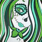 Green Sugar Skull Girl by tonitiger415