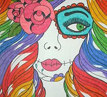 Rainbow Sugar Skull Girl by tonitiger415