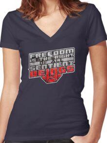 Words of Optimus v2 Women's Fitted V-Neck T-Shirt