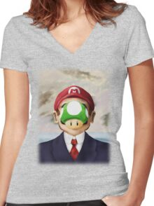 Son of Mario Women's Fitted V-Neck T-Shirt