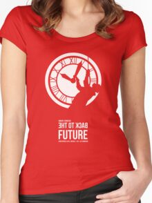Back to the Future - Doc Brown & the Clock Tower Women's Fitted Scoop T-Shirt