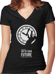 Back to the Future - Doc Brown & the Clock Tower Women's Fitted V-Neck T-Shirt