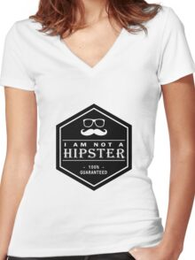 Leather Engraved - I am not a Hipster 100% Guaranteed Women's Fitted V-Neck T-Shirt
